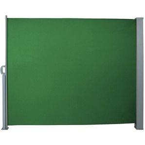Auvent store latéral brise-vue abri paravent soleil aluminium rétractable hauteur 180 cm longueur 300 cm vert - HELLOSHOP26