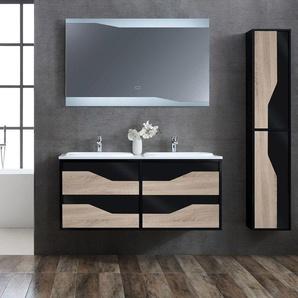 Meuble de salle de bain double vasque URBINO 1200 Scandinave et Noir - DISTRIBAIN