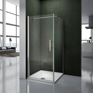 90x70x195cm Porte pivotante porte de douche paroi de douche cabine de douche avec barre de fixation 140cm verre anticalcaire - AICA SANITAIRE
