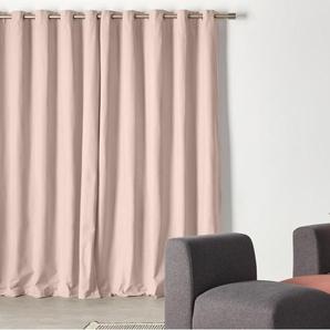Wespa, une paire de rideaux à œillets doublés en coton 168 x 228 cm, rose pâle