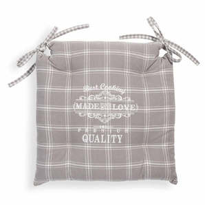 Galette de chaise en coton grise 40 x 40 cm PREMIUM