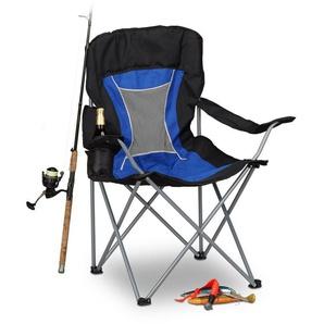 Chaise de camping pliante chaise de jardin pliable avec dossier et porte-gobelet HxlxP: 100 x 90 x 56 cm, bleu noir - RELAXDAYS