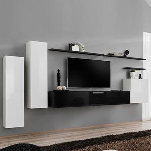 Meuble tv design mural blanc et noir AGATHA