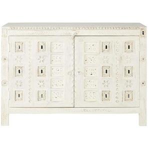 Cabinet de rangement 2 portes en manguier blanc sculpté Inaya
