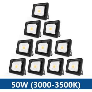 10×Anten 50W Projecteur LED IP65 Étanche Ultra-Mince Spot LED Léger Puissant pour Intérieur et Extérieur Blanc Chaud 3000K (Noir)
