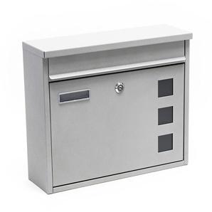 Boite aux lettres Boite postale murale Design argenté Revêtement par poudre Mailbox V12 - WILTEC