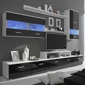 Lingjiushopping Unit ¨ ¤ TV Sept pièces avec LED 250cm Noir laqué Couleur: Noir matériau: Panneaux