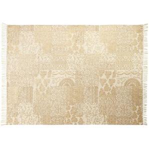 Tapis en coton écru et doré imprimé 140x200