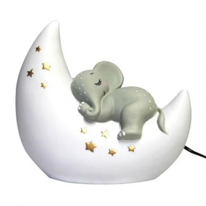 ELEPHANT-Lampe à poser LED éléphant sur lune Résine H20cm Blanc et Gris House Of Disaster