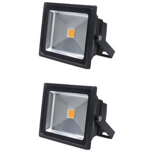 2×Auralum 50W Projecteurs LED Spot LED Lampe IP65 Étanche Lumière Blanc Chaud 3000K Couleur Noir