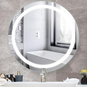 Miroir de Salle de Bain Rond Bord Biseauté Blanc Froid Anti-buée 80 * 80 * 4.5cm - OOBEST