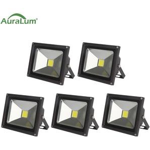 5×Auralum Projecteur LED 30W IP65 Spot LED 2500-3000LM Éclairage Extérieur et Intérieur Blanc Froid 6000-6500K Coque Noir