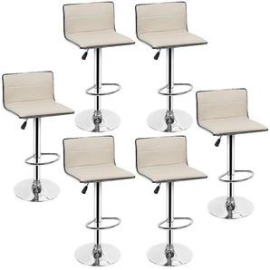 Lot de 6 Tabourets Bar JAUNE CLAIR Chaises pour Salon Bar Hauteur 80 - 100cm en Similicuir - OOBEST