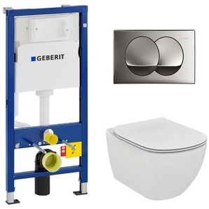 Geberit Pack WC Geberit duofix UP100 + Cuvette Ideal Standard Tesi Aquablade + Plaque de commande Delta20 Chrome