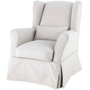 Housse de fauteuil en coton gris clair Cottage