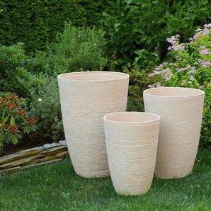 Petit cache-pot beige en pierre en forme de vase CAMIA