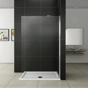 Paroi de douche 160x200cm avec barre de fixation extensible paroi de douche à litalienne verre anticalcaire - AICA SANITAIRE