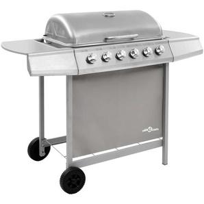 Hommoo Barbecue gril à gaz avec 6 brûleurs Argenté