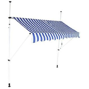 Store banne auvent avancée de toit rétractable manuel - 3m - Blanc et Bleu - INTEROUGE