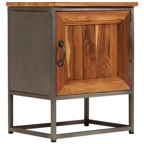 Table de nuit chevet commode armoire meuble chambre teck recyclé et acier 40 x 30 x 50 cm - Noir - HELLOSHOP26