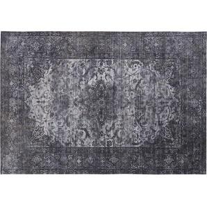 Tapis bleu et gris à motifs 140x200