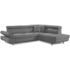 Linea - Canapé dangle droit convertible scandinave - L 252 x P 190cm Couleur - Gris clair - LISA DESIGN