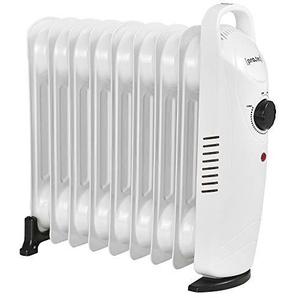[pro.tec] Radiateur à Bain dHuile 1000 W 230 V Thermostat Réglable 39 x 13,4 x 37 cm Silencieux Polypropylène Acier Blanc
