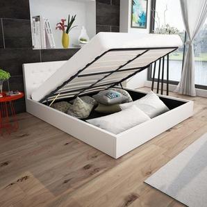 Cadre de lit à rangement hydraulique Blanc Similicuir 160x200cm