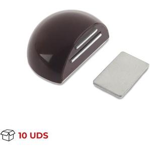 Boîte avec 10 Arrêt de porte avec aimant adhésif de marque REI, en plastique, fini marron et design arrondi