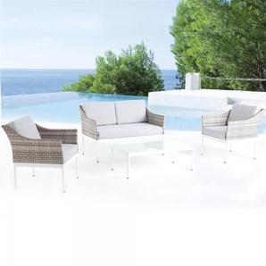 Marepa, salon de jardin bas aluminium gris & blanc