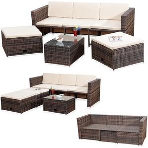 Jardin salon rotin osier mis en salon aménagé canapé table de 2 tabourets brun - MUCOLA