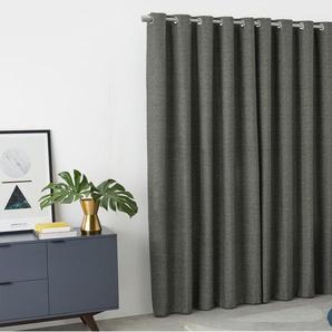 Walden, une paire de rideaux à œillets doublés au fini texturé 228 x 228 cm, gris charbon