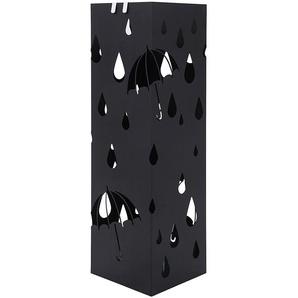 Porte parapluies en métal carré avec un plateau et crochets 15,5 x 49 x 15,5cm noir LUC49B - SONGMICS