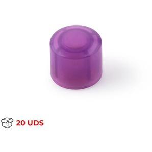 Boîte avec 20 Butée de porte et tournevis adhésifs de la marque REI, en plastique, avec fini magenta, forme cylindrique et design jeune
