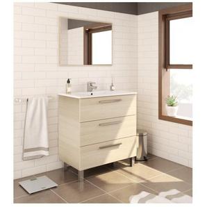 Meuble de salle de bain 3 tiroirs sur le sol 80 cm chêne clair avec miroir | Chêne clair - Avec colonne et lampe LED - BAGNO