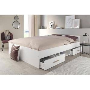 ZODIAC Lit 160x200 cm - 2 tiroirs + 1 niche - Décor blanc et bois clair - L 146 x H 59 x P 193 cm