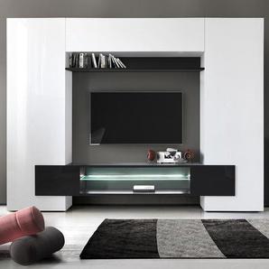 Meuble tv mural laqué blanc et noir EROS 3 avec éclairage