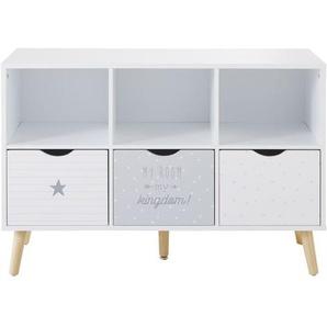 Cabinet de rangement 3 tiroirs gris et blanc à motifs Dreams