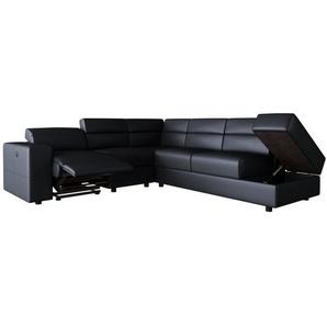 TILIO Canapé de relaxation électrique angle droit fixe 5 places - Simili PU noir - Contemporain - L 258 x P 243 cm