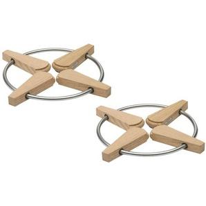 Skagerak Folding Trivet - Set de 2 sous-plats pliable - chêne/H 1,5cm, Ø 20/28cm/2 unités