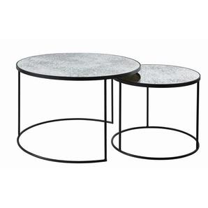 Tables gigognes rondes en verre trempé effet miroir Pépite