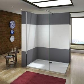 Paroi de douche 140x200cm en verre anticalcaire paroi de fixation avec barre de fixation la pince 360¡ã 90cm - AICA SANITAIRE