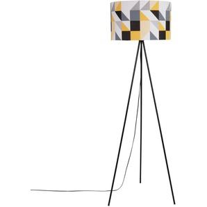 Lampadaire trépied en métal noir et abat-jour motifs graphiques H143