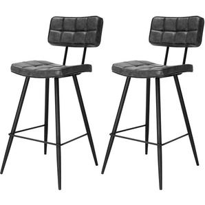 Chaise de bar mi-hauteur capitonnée Texas noire 65 cm (lot de 2) - RENDEZ VOUS DéCO