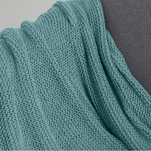 Essentials - Alfa plaid tricoté en coton, 130 x 170 cm, vert deau