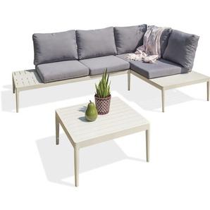 Salon de jardin ANKARA 5/6 P en aluminium - BLANC - DCB GARDEN