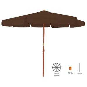 Parasol droit rond 3.5m en bois marron LENA - L 350 x l 350 x H 250 - MA MAISON MES TENDANCES