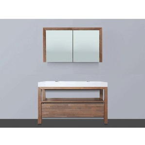 Saniclass Natural Wood Meuble avec armoire miroir 120cm Gris SW8038