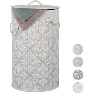 Panier à linge bambou, corbeille, Tonneau linge pliable Couvercle, 70 l, sac en coton,rond 41cm D,fleurs - RELAXDAYS
