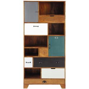 Bibliothèque 6 tiroirs 2 portes en manguier multicolore Picadilly